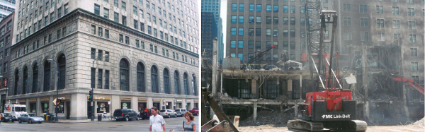 The Chicago Mercantile Exchange, before and during demolition © Landmarks (...)