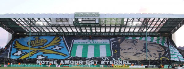 "Part of the ""tifo"" performed by the Green Angels for their 20th anniversary (2011/2012 season), which features the Saint-Étienne city crest, the club crest, and the group's main emblem (photo © Green Angels)"