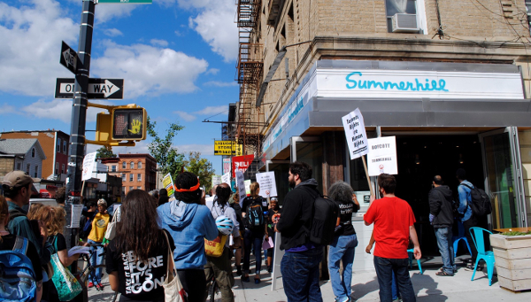 Protesters gather outside Summerhill as part of the Brooklyn (...)