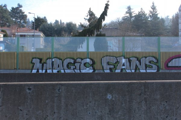 Graffiti by the Magic Fans on the edge of a dual carriageway in Saint-Étienne (photo © B. Ginhoux)