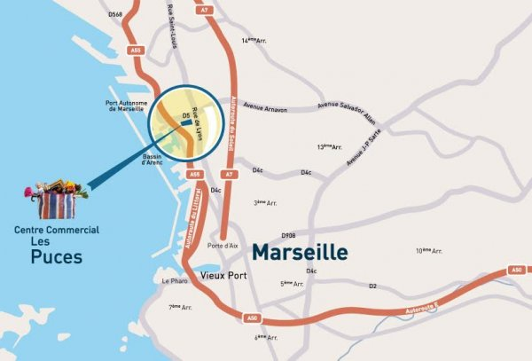 Location of the flea market within Marseille