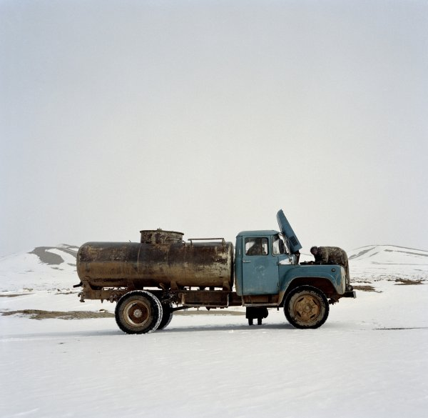 The only water supply for Bogd, a village of 5,000 inhabitants, is this tanker. That day, it broke down three times on the 12‑kilometre (7.5‑mile) journey from the well to the village.   Bogd, Gobi Desert, March 2011.